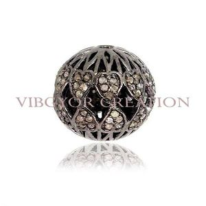 Diamond Finding Pave 925 Sterling Silver Bead Ball