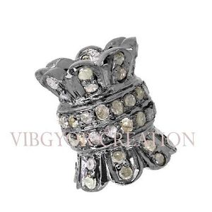 New Style 925 Solid Sterling Silver Pave Diamond Spacer Bead Finding Jewelry