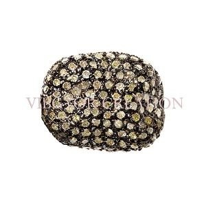 Pave Diamond Cushion Shape Bead