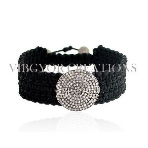 Polki Diamond Connector 925 silver Pave Setting Diamond Black Thread Bracelet