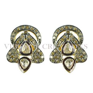 Pretty Looking Rosecut Pave Diamond 14k Gold 925 Silver Earrings Fashion Jewelry
