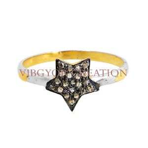 Star Pave Diamond Wedding Proposal Band 14k Gold Ring