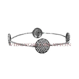 Stylish pave diamond round shape 925 sterling silver bangle