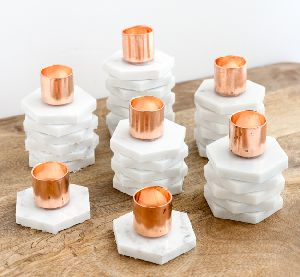 Copper and Marble Taper Candle Holders