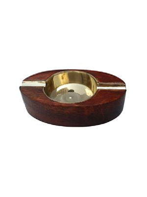 Wood-Brass Ashtray