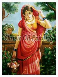 Beautiful Indian lady oil painting