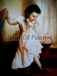 Beautiful little girl oil painting