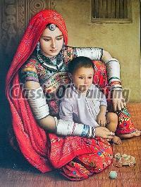 Colourful Rajasthani women oil paintings