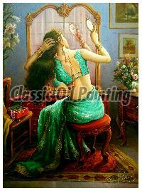 Indian lady looking in the mirror oil painting