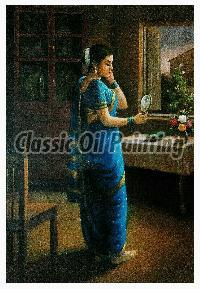 Indian lady wearing nauvari saree oil painting