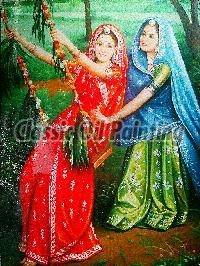 Rajasthani ladies playing zula oil painting