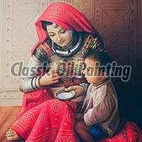 Rajasthani lady oil painting