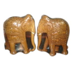 Sandalwood Carved Elephant Statue