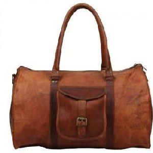 Vintage Brown Genuine Leather Traveling Duffel Bag