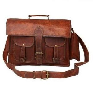 Vintage Brown Genuine Leather Mac Book Business Briefcase
