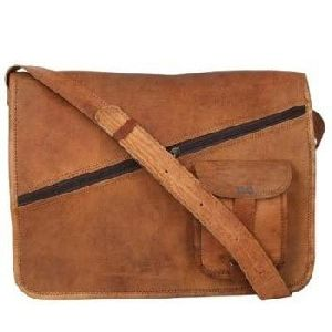 Vintage Brown Genuine Leather Tablet Messenger Bag