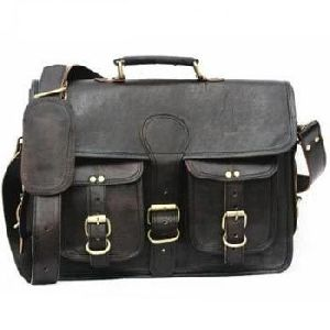 Royal Black Genuine Leather Mac Book Messenger Bag