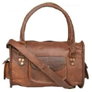 Vintage Brown Genuine Leather Tote Evening Bag
