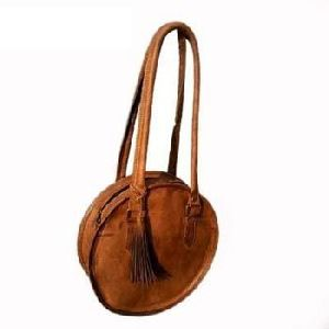 Vintage Brown Genuine Leather Evening Handbag