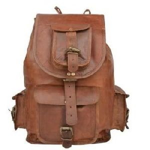 Vintage Brown Genuine Leather Hiking Backpack