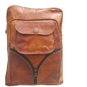 Vintage Brown Genuine Leather Laptop Backpack