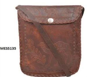 Vintage Brown Genuine Leather Passport Messenger Bag