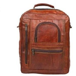 Vintage Brown Genuine Leather School Backpack
