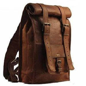 Vintage Brown Genuine Leather Traveling Backpack