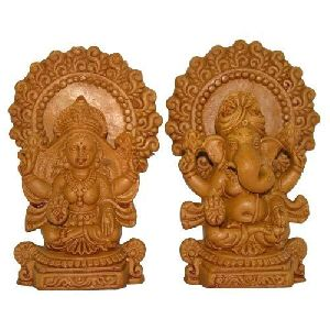Wooden Laxmi Ganesh Statue