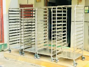 Stainless Steel Pan Rack Trolley