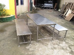 Stainless Steel Table and Bench Set