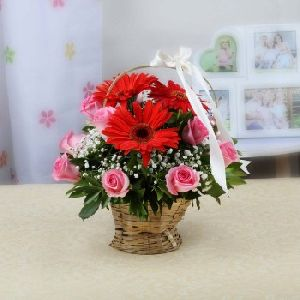 Flower Basket of Red Gerberas and Pink Roses