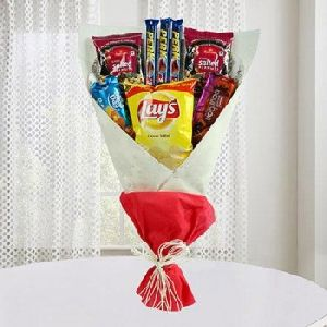 Mouth-Watering Bouquet Including Chocolates, Snacks And Bourbon