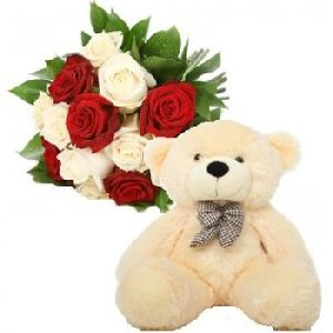 Teddy, White and Red Roses Bunch