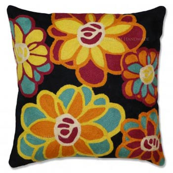 Amaranta Cotton Crewel Wool Embroidered Cushion Cover