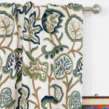 Aspen Hand Embroidered Cotton Crewel Curtain Fabric