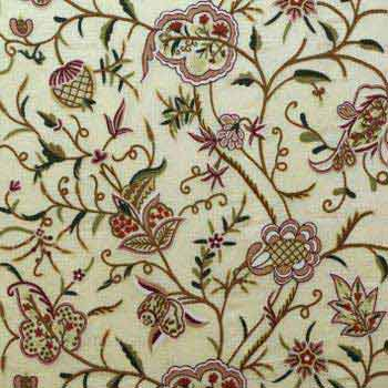 Baltal Crewel Work Hand Embroidered Organza Silk Fabric