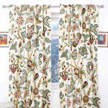 Chelsea Hand Embroidered Velvet Crewel Curtain Fabric