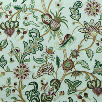 Chelsea Crewel Embroidery Upholstery Cotton Velvet Fabric