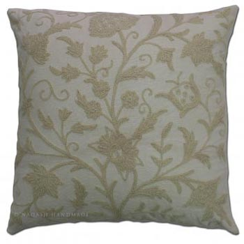 Dazdaar Cotton Crewel Hand Embroidered Cushion Cover