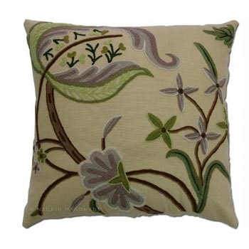Green Cotton Crewel Wool Embroidered Cushion Cover