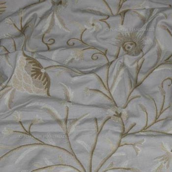 Hemis Handmade Crewel Embroidery Cotton Natural Fabric