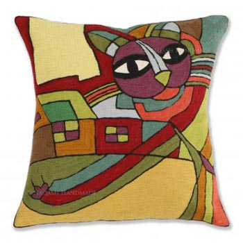 Modern Cat Cotton Crewel Wool Embroidered Cushion Cover