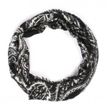 Paisley Black & White Organic Cashmere Scarf