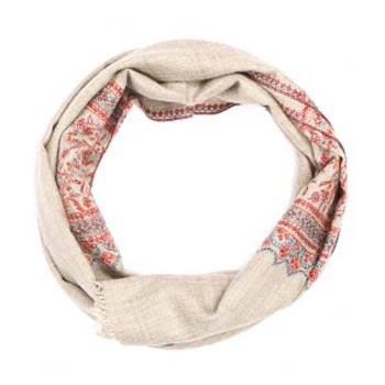 Paisley Hand Embroidered Pashmina Natural Scarf