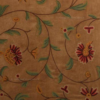 Shalimar Crewel Embroidery Work Handmade Cotton Velvet Fabric