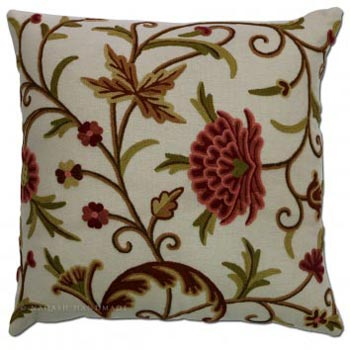 Sonmarg Cotton Crewel Hand Embroidered Cushion Cover