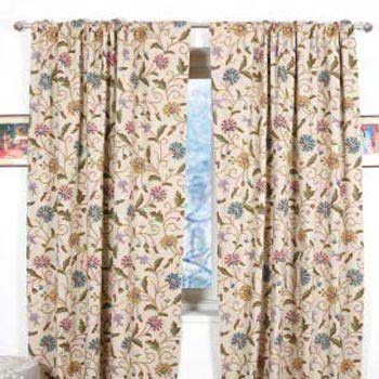 Sosan Hand Embroidered Cotton Crewel Curtain Fabric