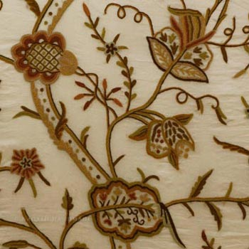 Varmul Crewel Work Hand Embroidered Organza Silk Fabric