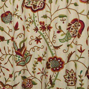 Watlab Hand Embroidered Cotton Crewel Curtain Fabric